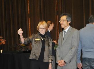 Sandra Olney with Minister Moroni